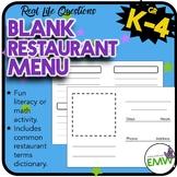 K-5  Blank Customizable Restaurant Menu for Creative Learning