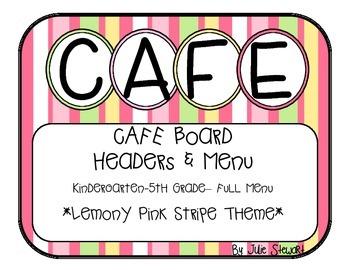 K-5 CAFE Board Lemony Pink Stripe