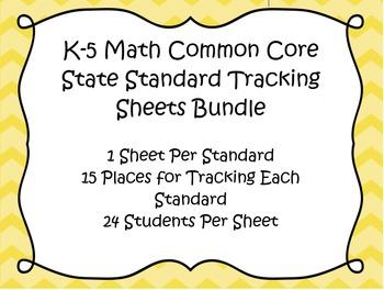 K-5 Common Core Math Track Sheets Bundle