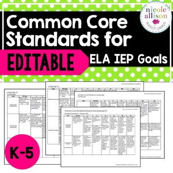 K 5 Common Core Standards Supporting IEP Goals For ELA