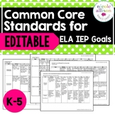 K-5 Common Core Standards Supporting IEP Goals for ELA  {Editable}