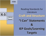 """RL Craft and Structure I Can & IEP Goals/Learning Targets """"Staircase"""""""