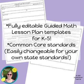 K 5 Guided Math Lesson Plan Templates Checklists Bundle Editable