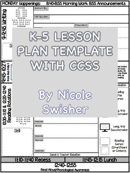 K 5 Lesson Plan Template With Ccss Attached For Reading Writing