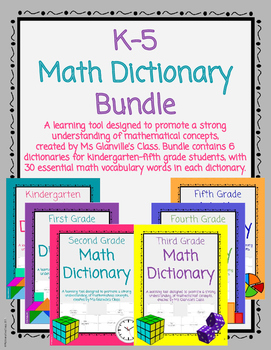 K-5 Math Dictionary Bundle by Ms Glanvilles Class | TpT