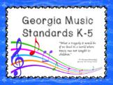 K-5 Music Standards Specific to Georgia- Kid Friendly Language