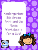 K-5 Emergency Print-and-Go Music Sub Plans