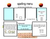 K-5 Spelling Menu