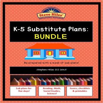 K-5 Substitute Plans: BUNDLE