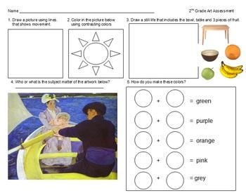 K-5 SGO Visual Art Assessment from I'm Art Smart