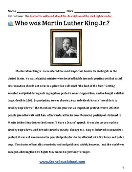 K- 5 th Grade U.S. Civil Rights Time-line for For Students with TBI