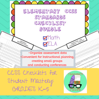 K-5th CCSS Checklist for Student Mastery BUNDLE