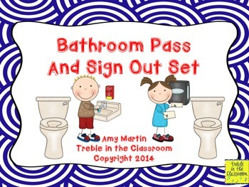 K-6 Bathroom Passes and Sign Out Sheet