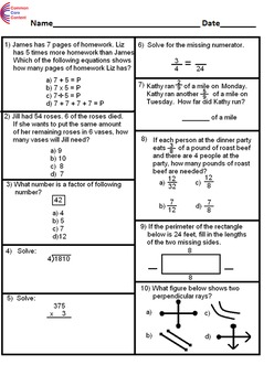 K - 6  Common Core Math Assessment  Bundle. 7 tests. Each with 10 questions.