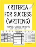 K-3 Criteria For Success Rubrics: Writing (9 no-prep versi