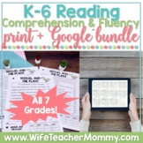 K-6 Reading Comprehension Fluency Passages Distance Learni