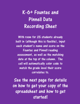 K-6+ Fountas and Pinnell Reading Assessment Digital Data Record