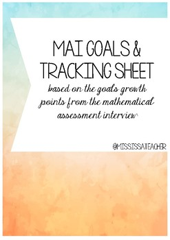 K-6 Maths Goals and Tracking Sheets