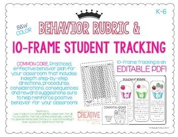 K-6 Positive Behavior Rubric & 10 Frame Behavior Tracking