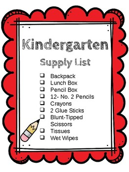 K-6 School Supply Lists [Editable]