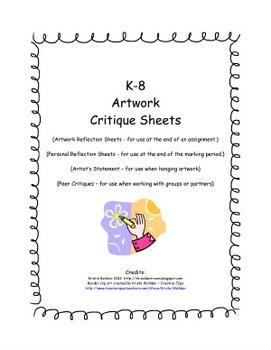 K-8 Artwork Critique Sheets