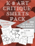 K-8 TAB Art Critique / Self-Reflection Sheets Pack
