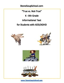 K - 8 True vs Not True For Students with ADD/ADHD