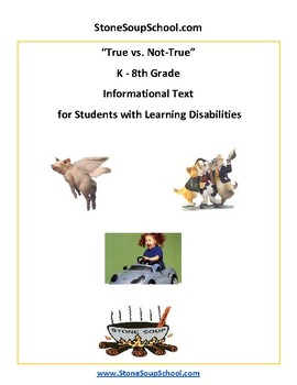 K - 8 True vs Not True for Students with Learning Disabilities