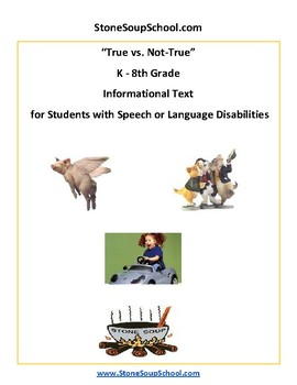 K - 8 True vs Not True for Students with Speech or Language Disabilities