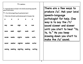 Help with speech sounds - S Pages