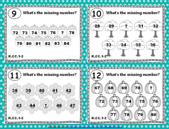 """K.CC.1-2 Task Cards: """"Count to 100"""" Task Cards, K.CC.1 & K.CC.2 Centers"""