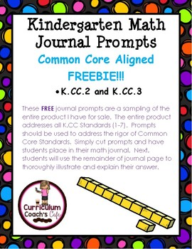 K.CC.2 and K.CC.3 Common Core Aligned Kindergarten Math Journal Prompts:  FREE