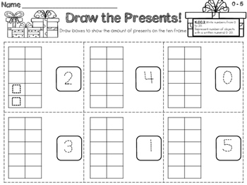 Common Core K.CC.3 Christmas Present Differentiated Worksheets