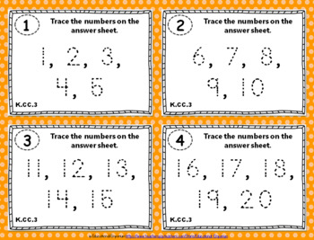 """K.CC.3 Task Cards: """"Write Numbers from 0 to 20"""" Task Cards, K.CC.3 Centers"""