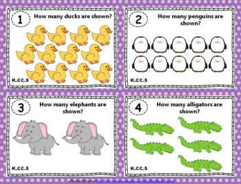 "K.CC.5 Task Cards: ""Counting Objects"" Task Cards, K.CC.5 Centers"