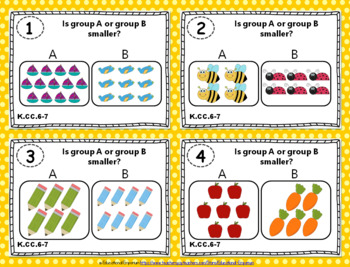 """K.CC.6-7 Task Cards: """"Comparing Numbers"""" Task Cards, K.CC.6 & K.CC.7 Centers"""
