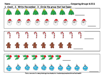 K.CC.6 Count and Compare Groups to 10:  Hoilday Counting Practice  2 pages