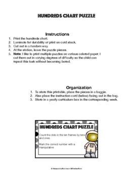 K.CC.A.1 Hundreds Chart Puzzle (Math Center)