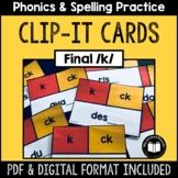 K, CK -- Final /k/ Clip-It Cards for Phonics & Spelling Practice