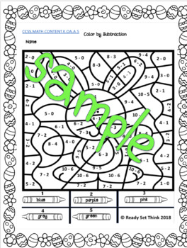K (DONE FOR YOU)  Easter Egg Beg Color By Addition and Subtraction