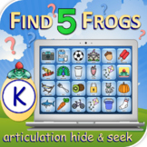 K Find 5 Frogs - Articulation Activity - Teletherapy - Dig