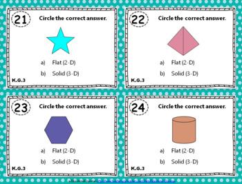 "K.G.1-3 Task Cards: ""Identify & Describe Shapes"" K.G.1, K.G.2, & K.G.3 Centers"
