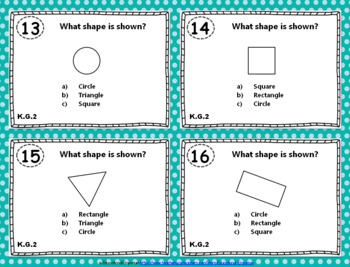 "K.G.1-3 Task Cards: ""Identify & Describe Shapes"" K.G.1, K.G.2, & K.G.3 Centers"