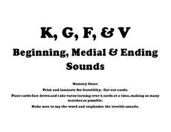 K, G, F & V Sound Practice - Speech