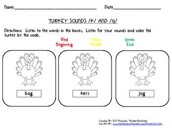 K - G Turkey Sound Discrimination - Thanksgiving