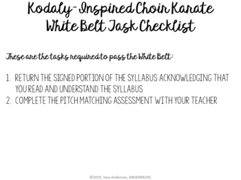 K.I.C.K. - Kodaly-Inspired Choir Karate - White Belt