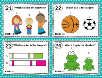 """K.MD.1-2 Task Cards """"Measurable Attributes; Comparing Objects"""" KMD1-KMD2 Centers"""