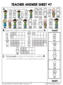Kindergarten Common Core Math | No Prep Worksheets | K.MD.1, K.MD.2, & K.MD.3