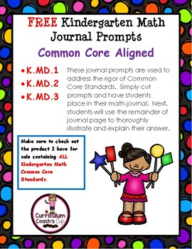 K.MD.1, K.MD.2 and K.MD.3 Math Journal Prompts:  FREE