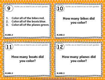 """K.MD.3 Task Cards: """"Classify & Count Objects"""" Task Cards, K.MD.3 Centers"""